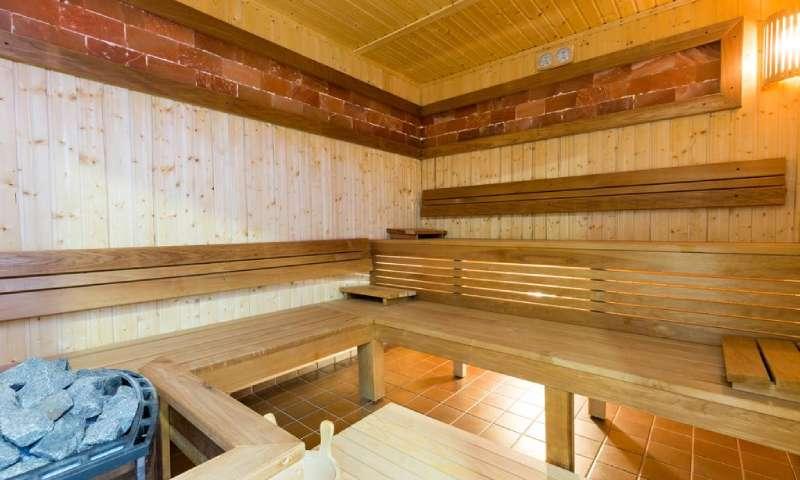 Sauna u hotelu sa klupama od belog drveta