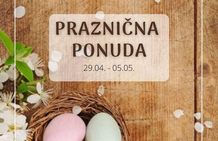 Slika postera na kome su sto sa ofarbanim jajima i natpis Praznična ponuda braonkaste boje